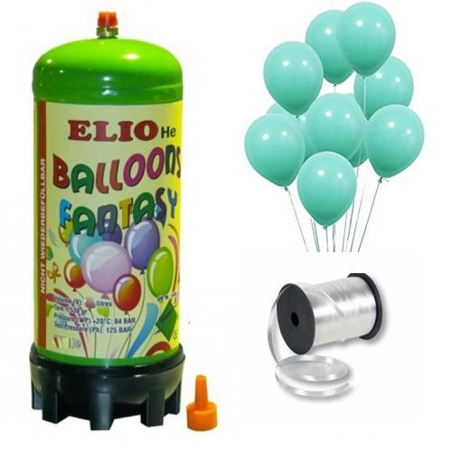 Helyum Gazı Tüp+ 20 Adet Mat Mint Yeşili Turkuaz Uçan Balon+ İpi