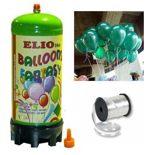 Helyum Gazı Tüp+20 Adet Metalik Koyu Yeşil Uçan Balon+İpi