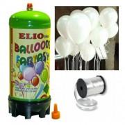 Helyum Gazı Tüp + 20 Adet Parlak Beyaz Uçan Balon + İpi