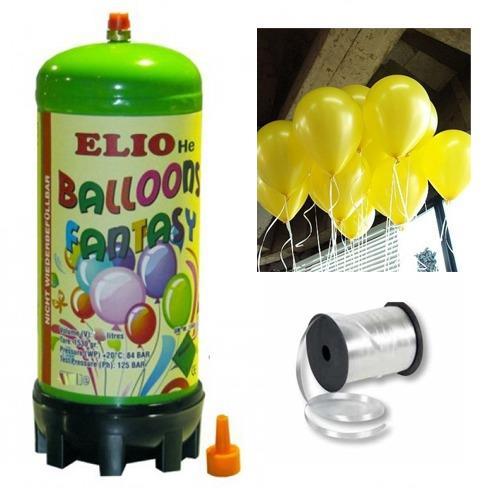 Helyum Gazı Tüp + 20 Adet Sarı Balon Metalik Uçan Balon + İpi