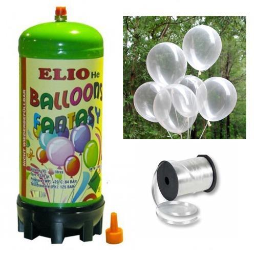 Helyum Gazı Tüp + 20 Adet Şeffaf Balon Metalik Uçan Balon + İpi