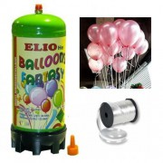 Helyum Gazı Tüp+20 Adet Metalik Pembe Uçan Balon+İpi