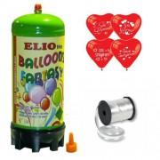Helyum Gazı Tüp+20 Adet Seni Seviyorum Baskılı Kalp Uçan Balon + İpi