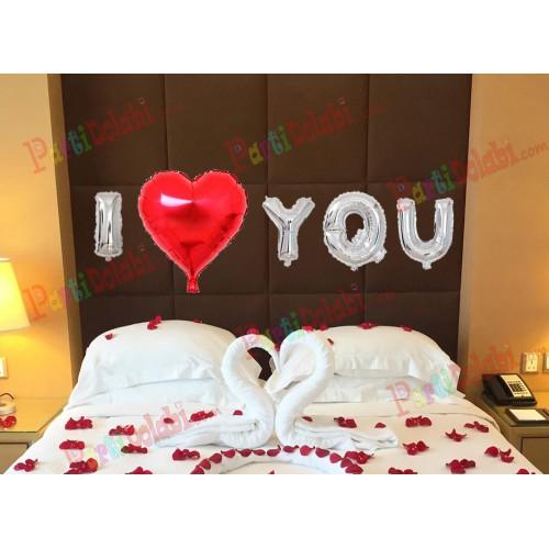 I Love You Folyo Balon ve 1 Adet Çift Taraflı Bant Evlilik Teklifi vb.