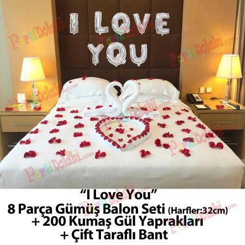I Love You Gümüş Balon Gül Yaprakları Evlilik Yıl Dönümü vb.