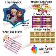 İçi Dolu Pinyata Elsa, Şeker, Çikolata, Çubuğu, Balon Hediyeleri