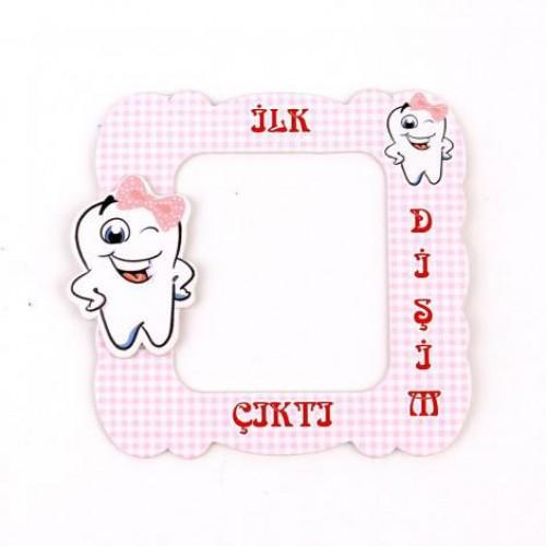 İlk Diş Pembe 25 adet Magnet Diş Buğdayı Buzdolabi Çerçevesi Kız Diş Dirgit Parti