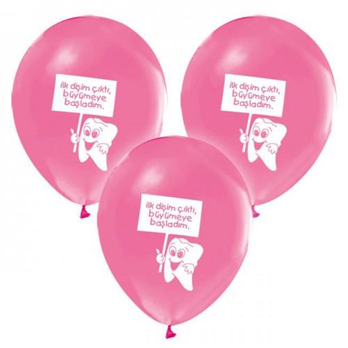 İlk Dişim 16 ADET Pembe Baskılı Balon Diş Buğdayı Kız Parti Balonları