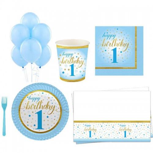 ilk yaşım 1 yaş erkek 16 Kişilik 8 Parça Doğum Günü Seti