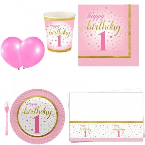 ilk yaşım 1 yaş kız pembe 16 Kişilik 8 Parça Doğum Günü Seti