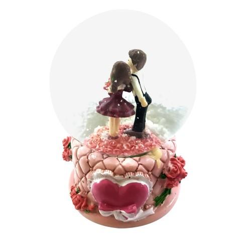 Işıklı Müzikli Sevgili Kuğu Flamingo Desenli Hediyelik Kar Küresi
