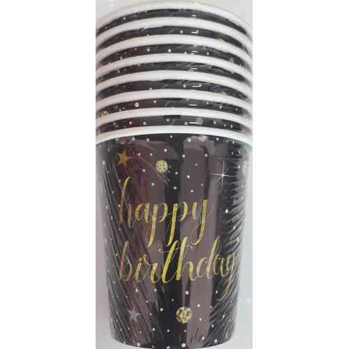Yetişkin Happy Birthday 8li Bardak Genç Doğum Günü Parti Bardağı