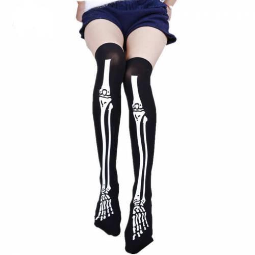 İskelet Siyah Çorap, Cadılar Bayramı Diz Üstü Halloween Çorap