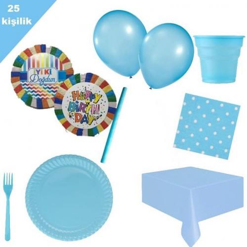 İyi ki doğdun doğum günü pinyata + 25 kişi mavi parti seti paketi