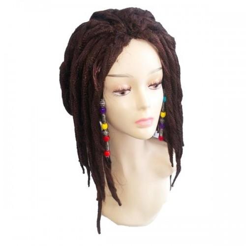 Kahverengi Boncuklu Rasta ( Reggae) Peruk, Kostüm Parti Malzemesi
