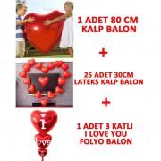 Kalp Balon 12inc + Kalpli Balon 75 cm + Folyo Uçan Ucuz Hediye
