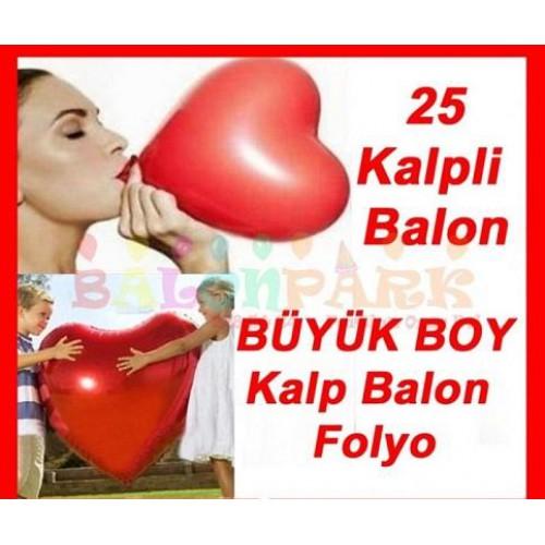 Kalp Balon + Kalpli Folyo 80cm Sevgiliye Doğum Günü Erkeğe Hediye