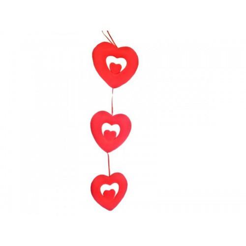 Kırmızı 3 Adet Birleşik Kalp Sarkıt Süs, Sevgiliye Süsleme