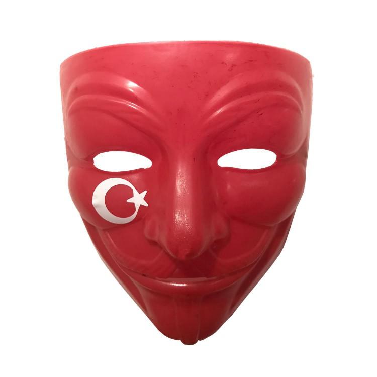 Kirmizi Ay Yildizli V For Vendetta Maskesi Turkiye Taraftar Maske