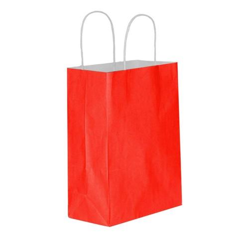 25 Adet Kırmızı Baskısız Hediyelik Kraft Kağıt İp Saplı Çanta