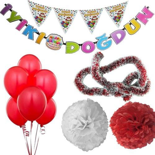 Kırmızı Erkek Çocuk (Bebek) Doğum Günü Parti Süsleri Malzeme Seti