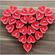 Kırmızı Kalp Tealight Mum 50 Adet