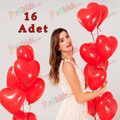 Kırmızı Kalpli Baskısız Balonu 16 lı Romantik Kalp Balonlar