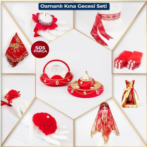 Kırmızı Kına Gecesi Osmanlı Kına Seti Süsleri Paketi