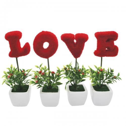 Kırmızı Love Yazılı Saksı, Dekoratif Süs 4 Lü Yapay Çiçek