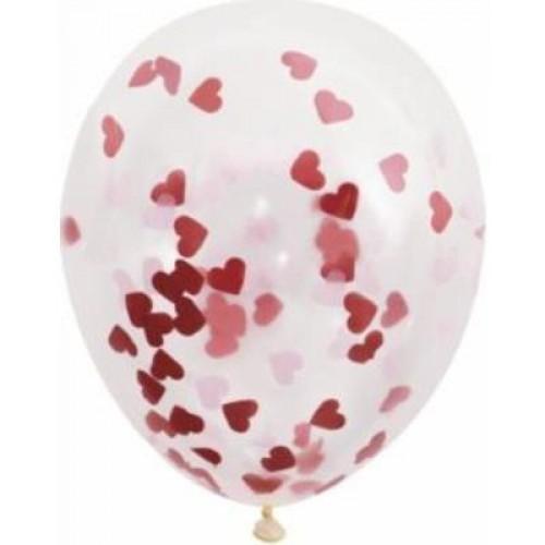 Kırmızı Şeffaf Balon içi Kalp Konfeti, Masa Süsleri vb.