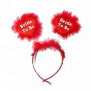 Kırmızı Tüylü Bride To Be Yazılı Taç, Bekarlığa Veda Partisi