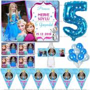 Kişiye Özel Elsa Frozen Doğum Günü Afişli Parti Malzemeleri