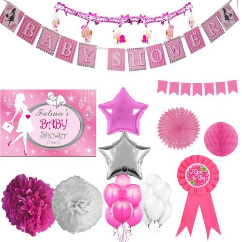 Kız Baby Shower Partisi Poster Afişli Malzemeleri Konsept Seti