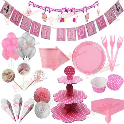 Kız Baby Shower Tabak Bardak Peçeteli Balonlu Parti Paketi Seti