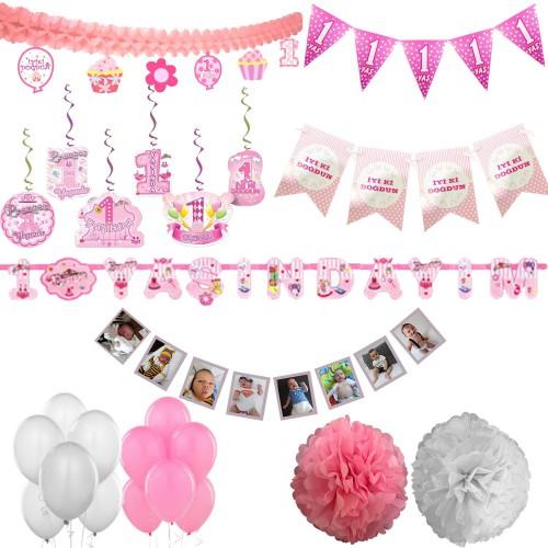 Kız Pembe 1 Yaş Doğum Günü Süs Seti Parti Malzemeleri