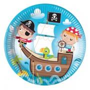 Korsan 8li Tabak Pirates Doğum Günü Parti Tabağı 23cm