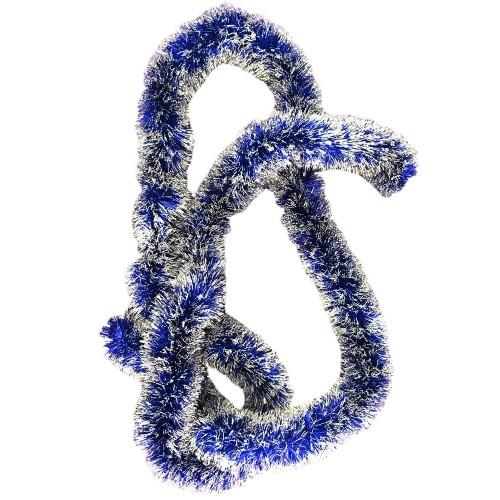 Koyu Mavi Gümüş Renginde Zincir Boyun Süsü Yılbaşı Çam Ağacı Süsü