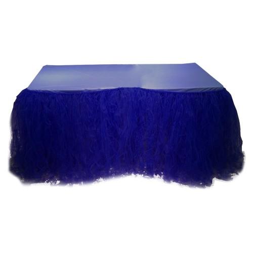 Koyu Mavi Lacivert Masa Tütü Eteği, Masa Süsleme Örtüsü İçin Tül