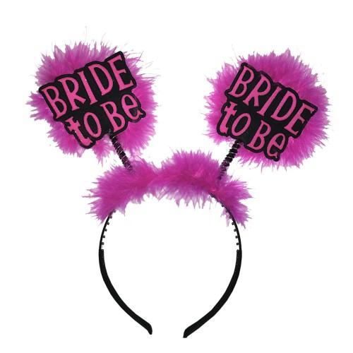 Koyu Pembe-Fuşya Tüylü Bekarlığa Veda Parti Tacı, Bride To Be