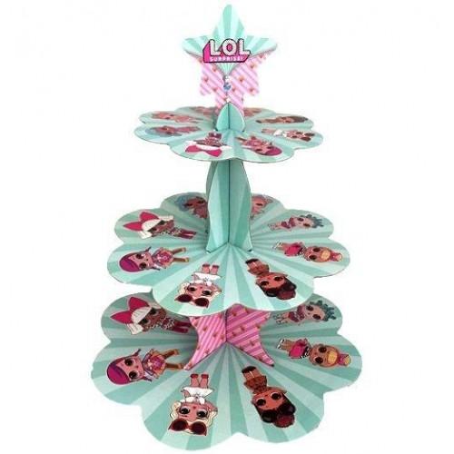 Lol Bebek Cupcake Kek Standı, Lol Surprise 3 Katlı Karton Stand