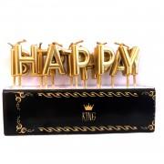 Mat Gold Altın Sarısı Happy Birthday Mum, Şık Yetişkin Pasta Mumu