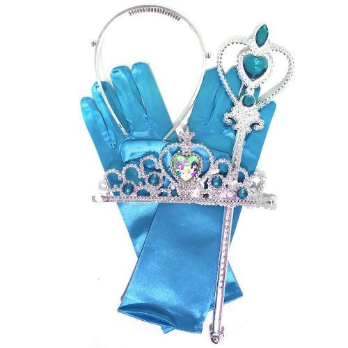 Mavi Disney Prensesler Taç Asa Eldiven Seti Prenses Kostüm Ürünü