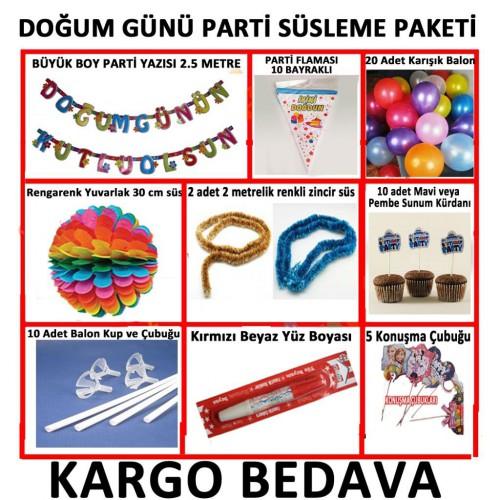 Mavi Erkek Doğum Günü Parti Malzeme Paketi+20 Karışık Balon 14 Parça Set