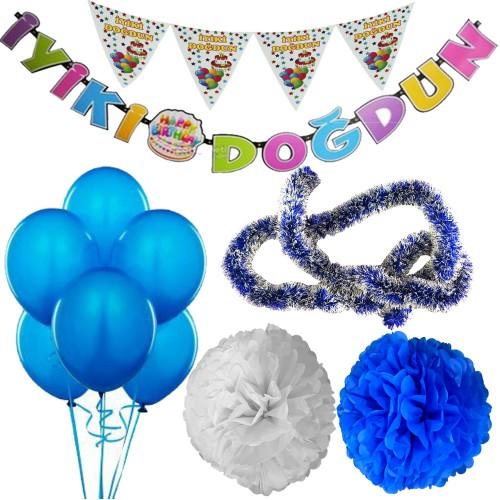 Mavi Kız Çocuk (Bebek) Doğum Günü Parti Süsleri Malzeme Seti
