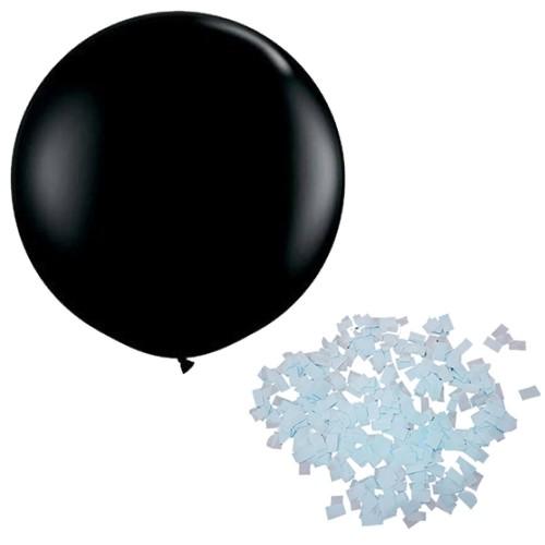 Mavi Konfeti+Siyah Bebek Cinsiyet Balonu Parti Öğrenme Belirleme