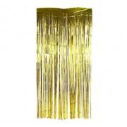 Metalik Gold-Altın Sarısı 2m Kap Perdesi, Parlak Duvar Püskülü