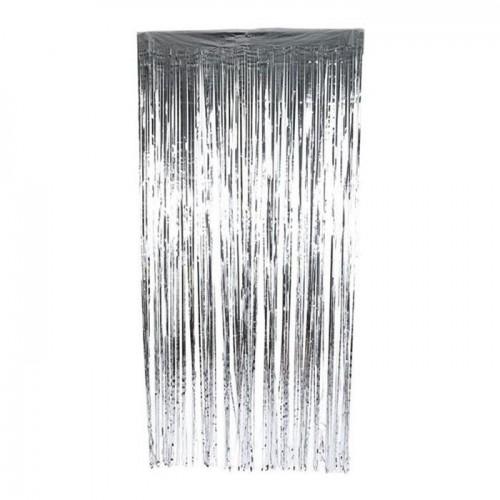 Metalik Gümüş Gri 2m Kapı Perdesi, Parlak Duvar Püskülü Süsleme