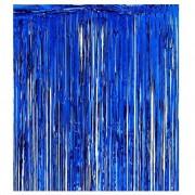 Metalik Lacivert Koyu Mavi 2m Kapı Perdesi, Parlak Duvar Püskülü