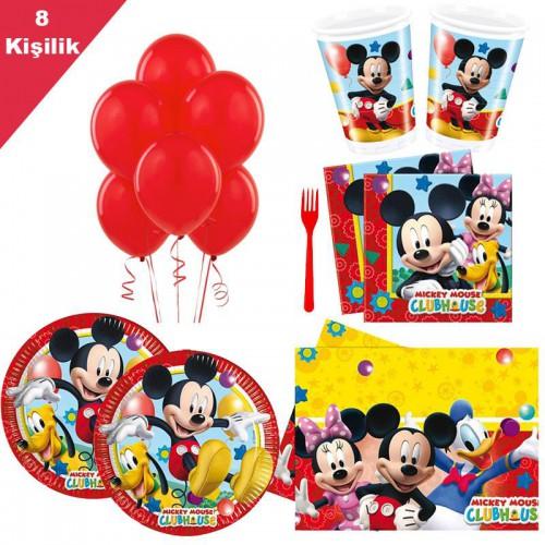 8 Kişi Mickey Mouse 6 Parça Doğum Günü Parti Seti Miki Paketi