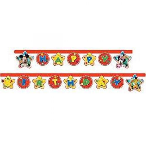 Mickey Mouse Happy Bitrhday Yazı Erkek Doğum Günü Parti Malzemesi